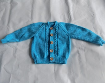 Baby hand knitted round neck cardigan