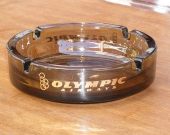 Vintage glass Olympic Airways advertising ashtray. Cool ashtray, vintage ashtray, glass ashtray, for smoker, Greek ashtray, office decor!