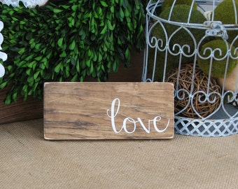 "READY TO SHIP Rustic mini ""Love"" Sign (8"" x 3.5"")"
