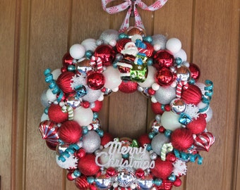 Merry Christmas Santa Wreath, Christmas Ball Wreath, Christmas Ornament Wreath