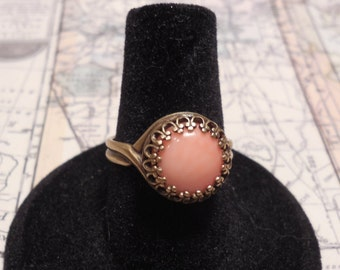 Ring, Antique Style Ring, Pink Coral 10mm Cabochon Antiqued Brass Size 7