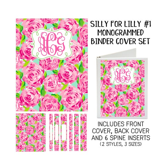 Silly for Lilly #1 Printable Binder Cover Set with Front & Back Covers and Spine inserts - Personalized- Dress up Your Three Ring Binder!