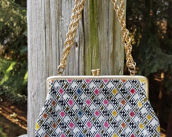 Needlepoint Handbag With Gold Chain Strap Hand Made In Japan Vintage