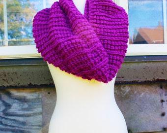 Crocheted Magenta Shimmer Infinity Scarf