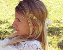 Headband wedding rock crystal (gemstone) brass & ribbons