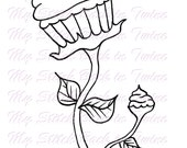 Digital stamp colouring image - Doll art Cupcake . jpeg / png