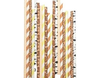 25 paper straws SAFARI / JUNGLE  - Paper straws Party Supplies