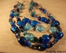 Aqua and Blue Sapphire Necklace Set Double Strand