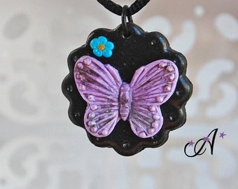 Necklace black medallion, Purple Butterfly and blue flower pendant made in fimo polymer clay, rope, satin Black 2mm