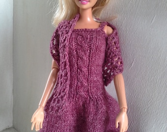 Dress and wrap for Barbie doll, knitted gown, knitted dress, cable dress, Barbie dress, MADE TO ORDER