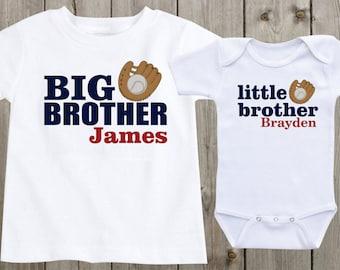 Matching shirts set of 2 sibling shirts big brother little matching shirts set of 2 sibling shirts big brother little brother personalized shirts baseball sports theme negle Gallery