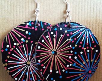 Large Handmade Decorative Disk Earrings - Fireworks