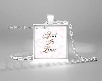 INSPIRATIONAL QUOTE CHARM Necklace God Is Love Pendant Inspirational Quotes Jewelry Inspiring Quotes Spiritual Quotes Jewelry Christian Gift