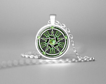 WICCAN PENTAGRAM NECKLACE Wiccan Pendant Pentagram Jewelry Wiccan Necklace Pagan Religion Wicca Pendant Pentagram Pendant Pentacle Emrald