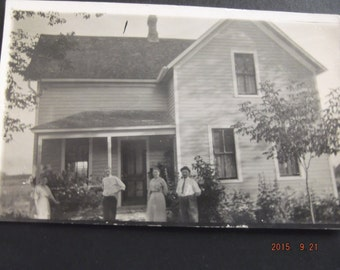 Photography RPPC 1920's Vintage Family Photo in Period Clothing Farmhouse Recycle Repurpose Vintage Real Photo Postcard