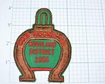 Woodland District Cub Round-Up 1955 Philadelphia Council Boy Scouts Patch BSA Patch Scouting RARE Vintage Pocket Patch e9b