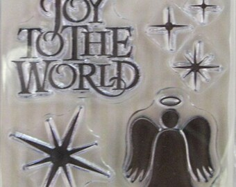 "We R Memory Keepers ""Joy To The World"" Christmas-Themed Clear Stamps, 6 Clear Acrylic Scrapbooking Stamps 3""x3"", Holiday Scrapbooking Ideas"