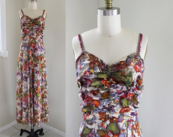 1940s Floral Gown / Watercolor Garden Dress / Vintage 30s 40s Rayon Crepe Evening Gown / XS S