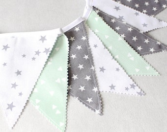 Bunting garland, Fabric Banner, Mint, Grey Star Nursery , Stars Flags, Baby Shower Boy, Girl, Baby Gift, Newborn props, Minimalist  Nursery