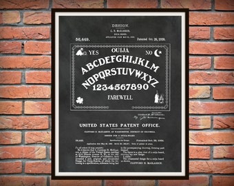 Patent 1920 Ouija Board - Art Print - Game Room Art - Victorian Parlor Game - Spirit Board - Paranormal Art -Talking Board - Psychic Art