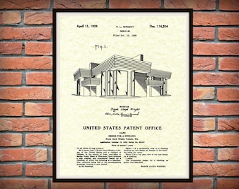 Patent 1939 Frank Lloyd Wright House Architecture - Dwelling Art Print - Poster Print - Wall Art - Engineering Design
