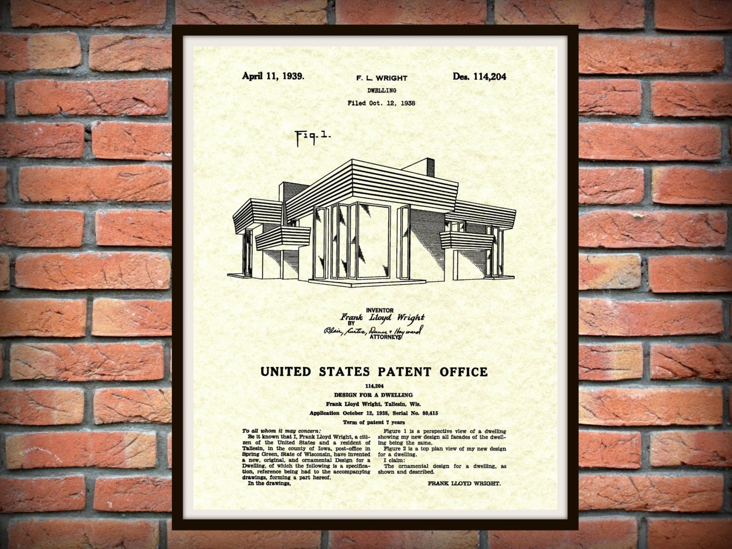 patent 1939 frank lloyd wright house architecture