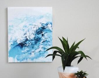 ocean tide painting, modern abstract seascape, modern ocean decor