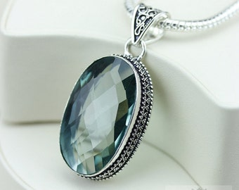 APATITE VINTAGE Style Setting 925 S0LID Sterling Silver Pendant + 4MM Snake Chain & FREE Worldwide Shipping P3307