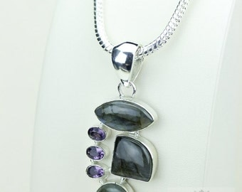 Beautiful! Labradortie Amethyst 925 S0LID Sterling Silver Pendant + 4mm Snake Chain & Free Worldwide Shipping p3421