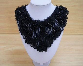 Beaded lace Collar Appliques,Black Chiffon applique,pearl Floral Emboridered Collar 1 pcs(129-56)