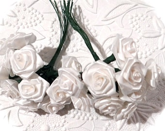 2 Ribbon Roses White Roses Floral Supplies RR-105