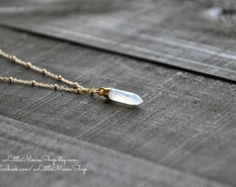"Moonstone Pendant, Moonstone Gemstone, Spike 24k Electroplated Gold Pendant, 20"" Inch 14k Gold Fill Chain, Beaded Chain, Spring Clasp"