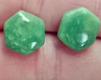 Jade green hexagon stud earrings