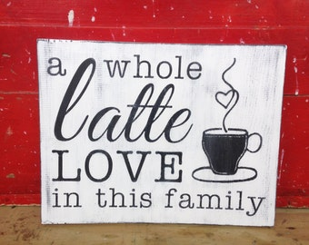 A Whole Latte Love In This Family Sign