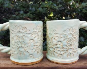 Handmade Stoneware Mug with Floral Textures