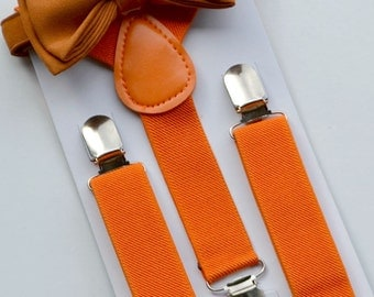 Suspenders Bow Tie -- Copper Bow Tie -- Orange Suspenders -- Ring Bearer Outfit -- Boys Birthay Outfit. SHIPS FAST!**