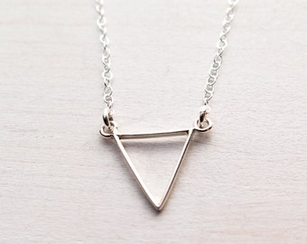 Tiny Triangle Necklace, Sterling Silver Triangle Jewelry, Dainty Geometric Necklace, Minimalist Jewelry, Gift for Her, Teen Girl Gift