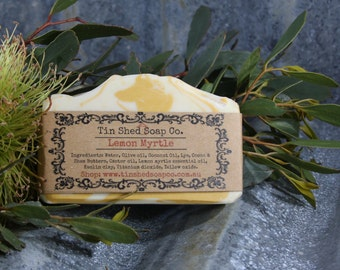 Lemon Myrtle Handmade Soap with Shea and Cocoa Butters. Lemon Myrtle Essential oil. Made in Australia.