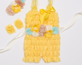 Baby Girl First Birthday Outfit, Yellow and mint baby lace romper, Baby girl rompers, Cake Smash Outfit, Photo Prop