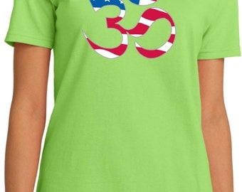 Yoga Clothing For You Ladies Shirt Patriotic OM Organic Tee Shirt = LPC150ORG-PATRIOTIC