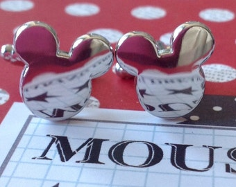 Silver Mickey Mouse Inspired Cufflinks