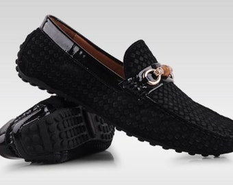 Men's Suede Leather Moccasin Loafers Driving Shoes Comfort Slip-on Penny Loafers Black