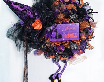 XL Witch Wreath, Halloween Witch Wreath, Halloween Wreath, Witch Hat with Legs, Witch Mesh Wreath, Stop in for a Spell