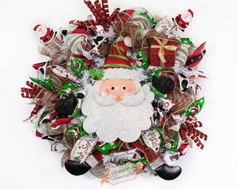Light up Santa Wreath, Santa Wreath, Santa Christmas Wreath, Santa Legs Wreath, Santa Mesh Wreath, Christmas Wreath, Santa Claus
