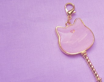 Cute and Sparkly Gold Cat Wand Resin Charm