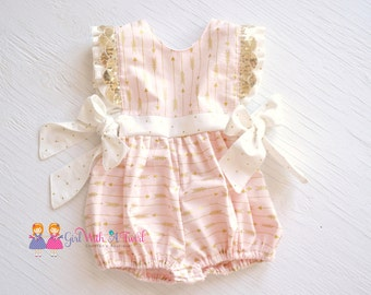 Baby Girl Romper, Pink and Gold, Boutique Outfit, Baby Girl Pink Gold Outfit, Arrow Romper, Bubble Romper, Cake Smash, Baby Shower Gift