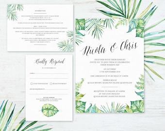 Wedding Invitation Set - Watercolour Tropical Luxe