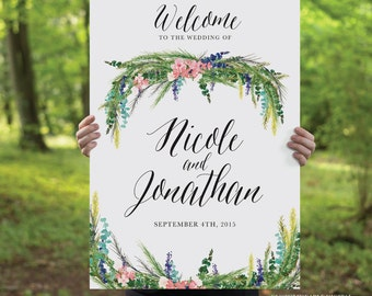 Printable Wedding Welcome Sign, Watercolor Spring Wisteria, Rustic Whimsical DIY Printable Sign, Wedding Signage
