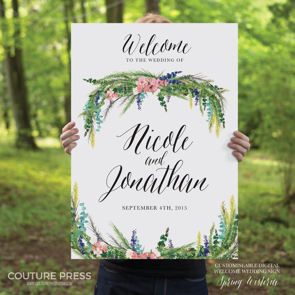 Printable Wedding Welcome Sign Watercolor Spring Wisteria