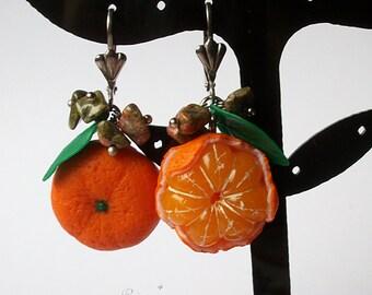Tangerine Earrings, Mandarin Earrings, Fruit Jewelry, Polymer Clay, Orange Earrings, Summer Fruit Earrings, Citrus Earrings